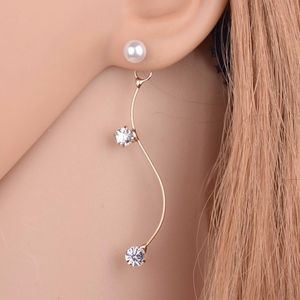 Jewelry - Gold S Shape CZ Crystal Pearl Drop Earrings